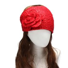 Women hats knitting wool flower Girl Knit caps knitting wool Hair Accessories hair clips bow 5 colours head ties 47*16cm(China (Mainland))