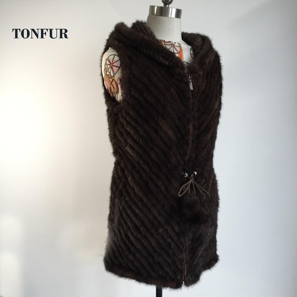 2016 New TONFUR Women Fashion Knitted Mink Fur Vest with hood Real Fur Gilet Zipper Genuine Fur Vest DAH756(China (Mainland))