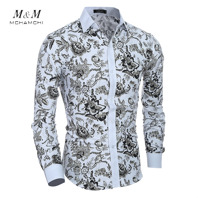 Men Floral Long Sleeve Shirt Men Clothes Flowers Printed Shirts Vintage Linen Casual Bussines Cotton Work Camisa Masculina Dress(China (Mainland))