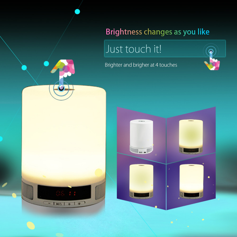 Ycc-Team Bluetooth Speaker Stereo Music Lamp Mini Stereo Subwoofer Smart Adjustable Lighting Alarm Clock Handsfree MP3 Player<br><br>Aliexpress