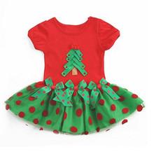 2016 Fashion Baby Girl Christmas Dress Girl's Short Sleeve Merry Christmas Dress Kids Cotton Dot Casual Tutu Dress 25F(China (Mainland))