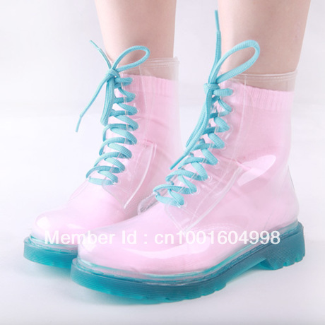 Freeshipping! Fashion High transparent crystal women's colorful rainboots martin rain boots with socks for gift