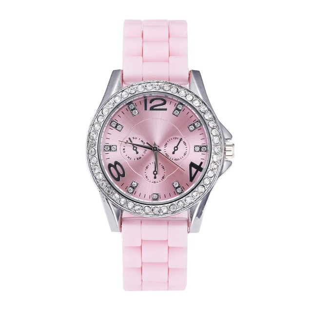 big clearance sale wholesale women rhinestone watches fashion silicone dress watch crystal candy colors jelly no logo wristwatch