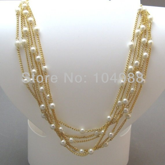 FREE SHIPPING 2014 STYLE B167 WOMEN FASHION GOLD PLATED MULTI-LAYERS METAL CHAIN IMITATION PEARLS BODY CHAIN NECKLACE JEWELRY(China (Mainland))
