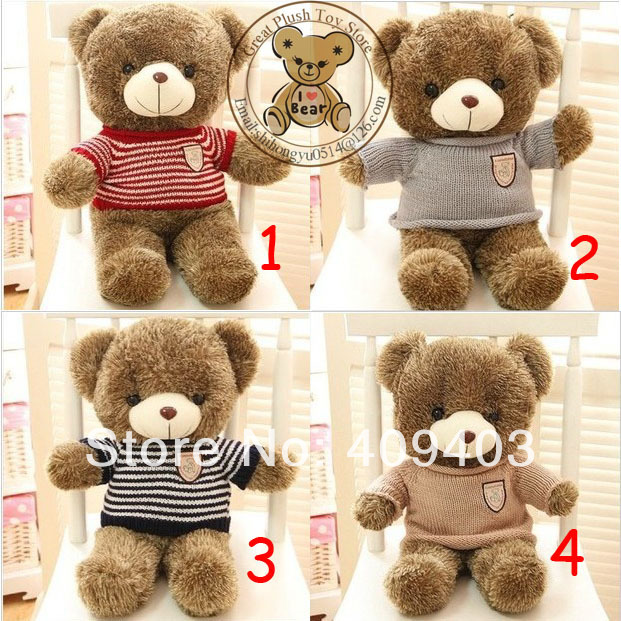 100cm High Quality Plush Soft Toys & Hobbies Stuffed Animals Plush Teddy Bear With Cloth For Girl's Gift(China (Mainland))