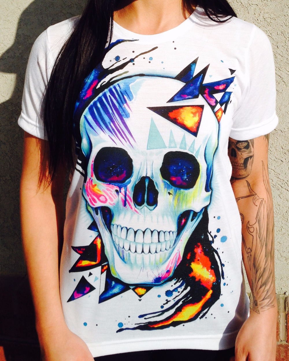 women/men fashion clothing Space Skull Crew 3d hand drawing T-shirt colorful print summer style t shirt sport tops tees(China (Mainland))