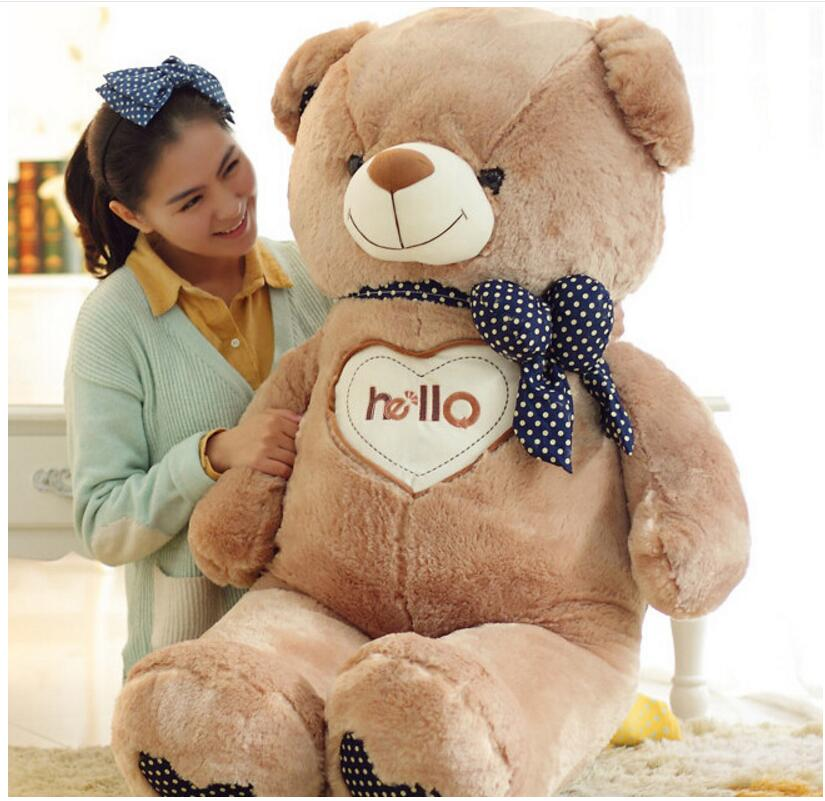 130cm Cute Bear White/Brown Hello Tie Bear Large Bear Giant Teddy Bear Plush Toy Gift Plush Ted Man's Movie For Girlfriend Gift(China (Mainland))