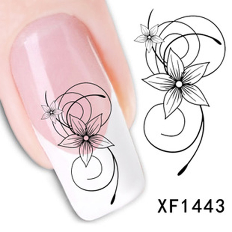 Watermark 3D Lovely Nail Design Black Flowers Tip Art Decorations Stickers Nails Decal Tools - Wellcome sotre store
