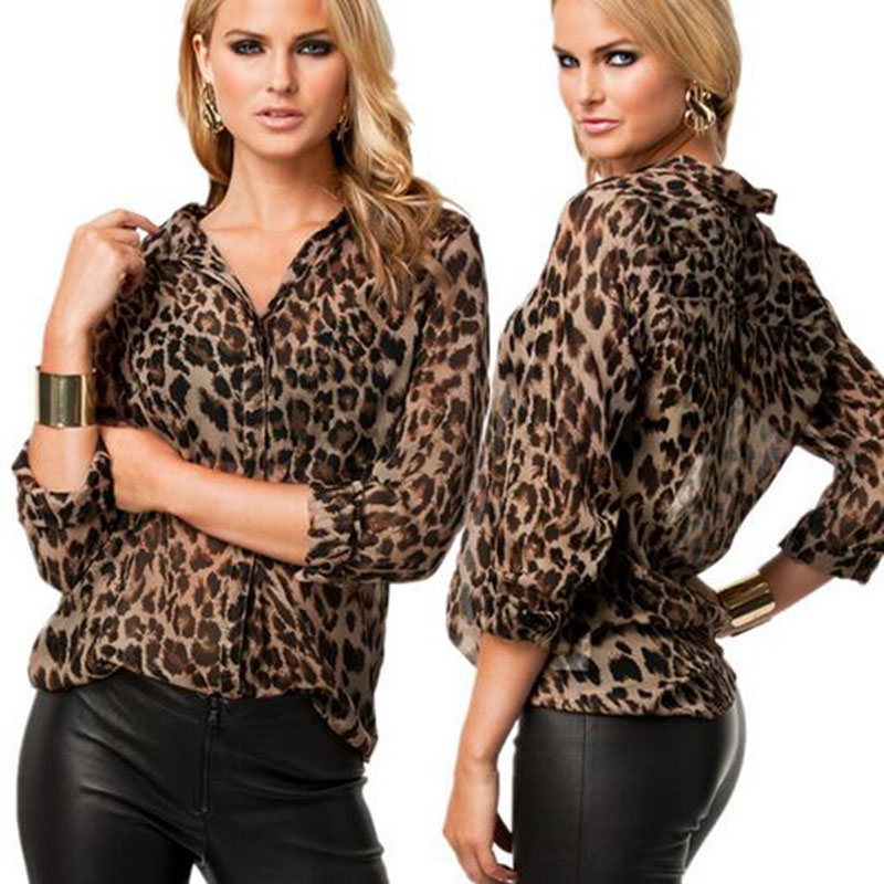 Lady's Leopard sexy sleeve lace transparent blouse plus size Summer/Autumn Chiffon Leopard Tops blouse(China (Mainland))