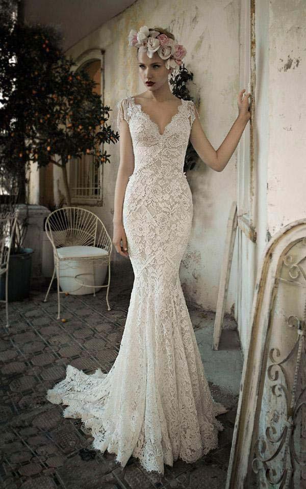 vintage lace capped sleeve wedding dress « Bella Forte Glass Studio