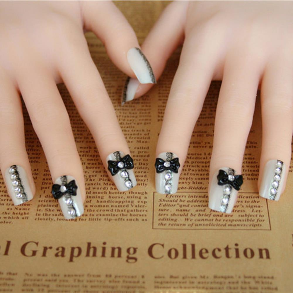 Wholesale Crystal Fake Nails High Quality Artificial Black And White ...