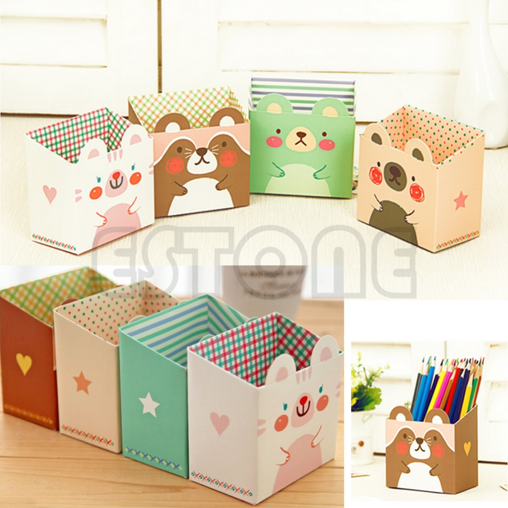 Modern 2015 Storage Organization/Designer DIY Paper Stationery Makeup Cosmetic Desk Organizer Storage Box Cute Cartoon Cat(China (Mainland))