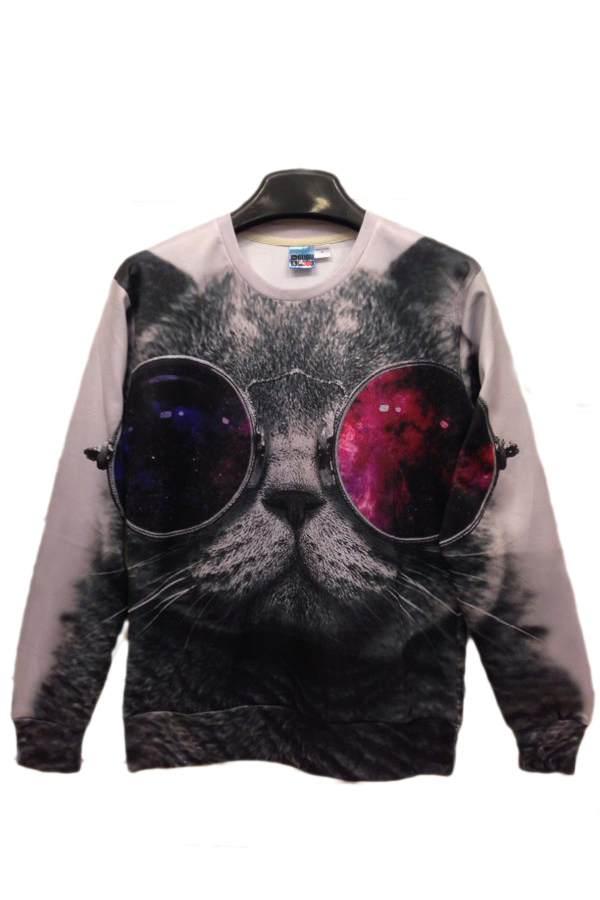 New 2015 Fashion Sport Suit Women Sunglasses Cat White 3D Print Long Sleeve Sweatshirts Women Novelty Brand Hoodies(China (Mainland))