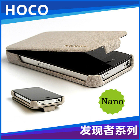 100% genuine Nanotechnology leather luxury flip case for iphone 4 4s Free shipping Original Borofone discovery discount price(China (Mainland))
