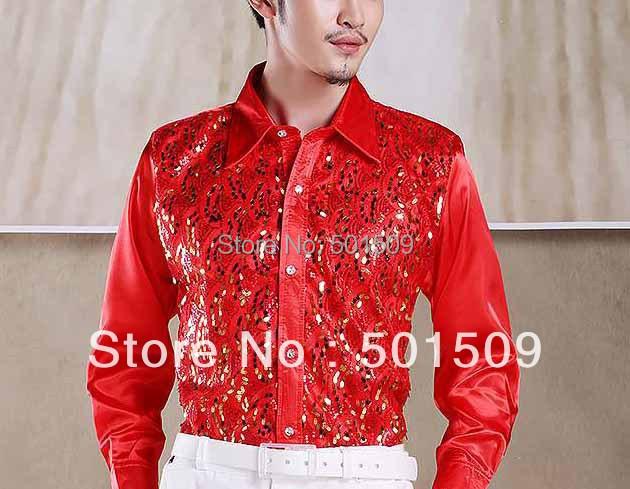 Рубашки бесплатная доставка блестки украшение мужской смокинг ну вечеринку / свадьбы
