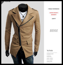 hot sale wholesale fashion european style pocket design vorgue spring men zipper trench coat(China (Mainland))