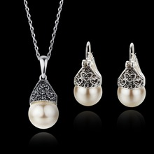 Italina Genuine Silver Plated Vintage Pearl Necklace/Earrings Brand Jewelry Sets for Women(China (Mainland))
