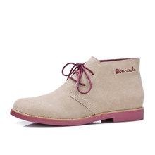 Donna-in yarım çizmeler kadınlar için Martin çizmeler hakiki deri ayakkabı düz rahat patik kadın 2019 sonbahar dantel artı boyutu bayanlar(China)