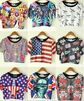 11 Type Print Harajuku Style American UK Flag Skull Boy Leaves Cropped Tops For Women Punk T-shirts 2015 Summer New Fashion sale