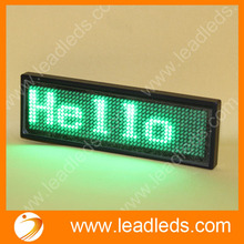 2sets rechargeable and USB Green color LED Programmable Scrolling Name Message Badge Tag Digital Display English