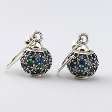 Authentic 925 Sterling Silver Jewelry Pave Ball Dangle Earring DIY Earrings For women Drop Shipping(China (Mainland))