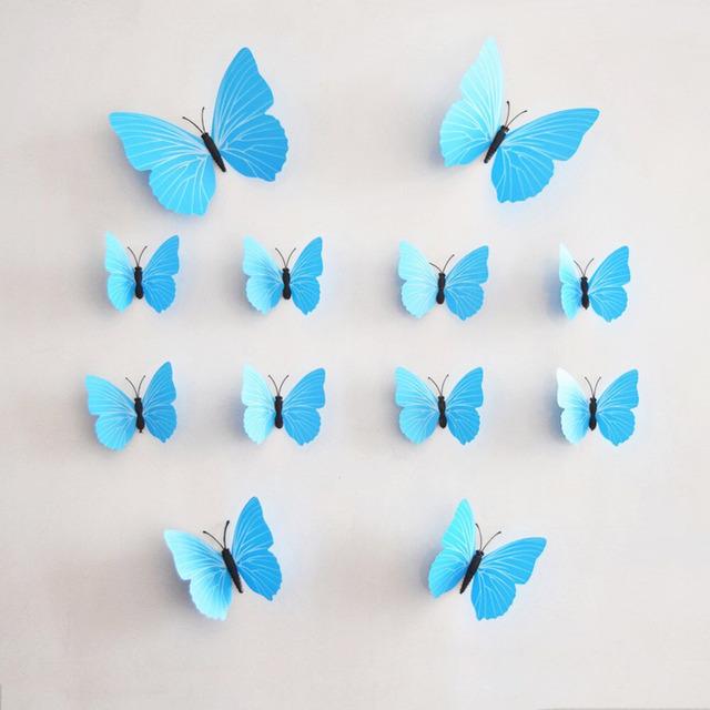 12 шт./лот 3D стены бабочки стены дома настенной росписи наклейки свадьбы украшения бабочки декора для дома Fridage украшения