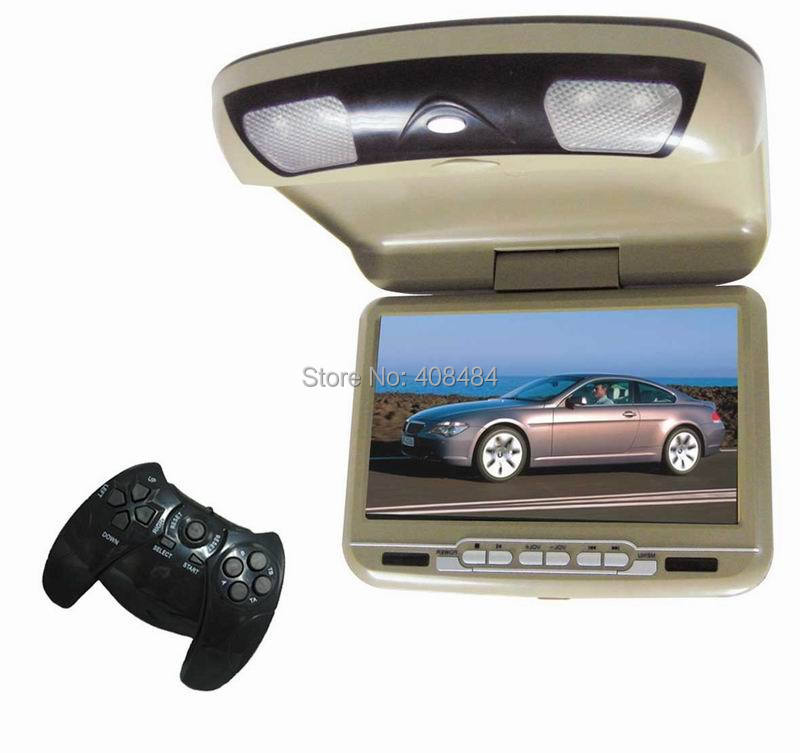 9 Inch Flip Down Roof Mount Monitor Car DVD Player Beige Color Russian Menu Available Retail/Pc Free Shipping(China (Mainland))
