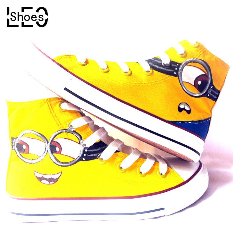 LEO Men Women Hand Painted Canvas Shoes High Despicable Me 2 Minions Evil Laugh Pattern Graffiti Unisex Couples Casual Shoes(China (Mainland))