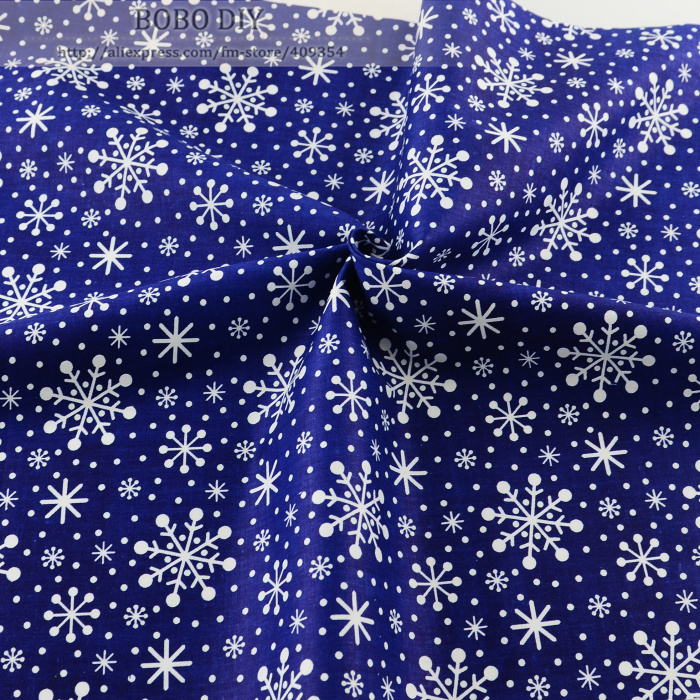 50cmx160cm/piece dark blue snowflake printed cotton fabric for baby bedding clothing scrapbooking patchwork sewing tilda tecido(China (Mainland))