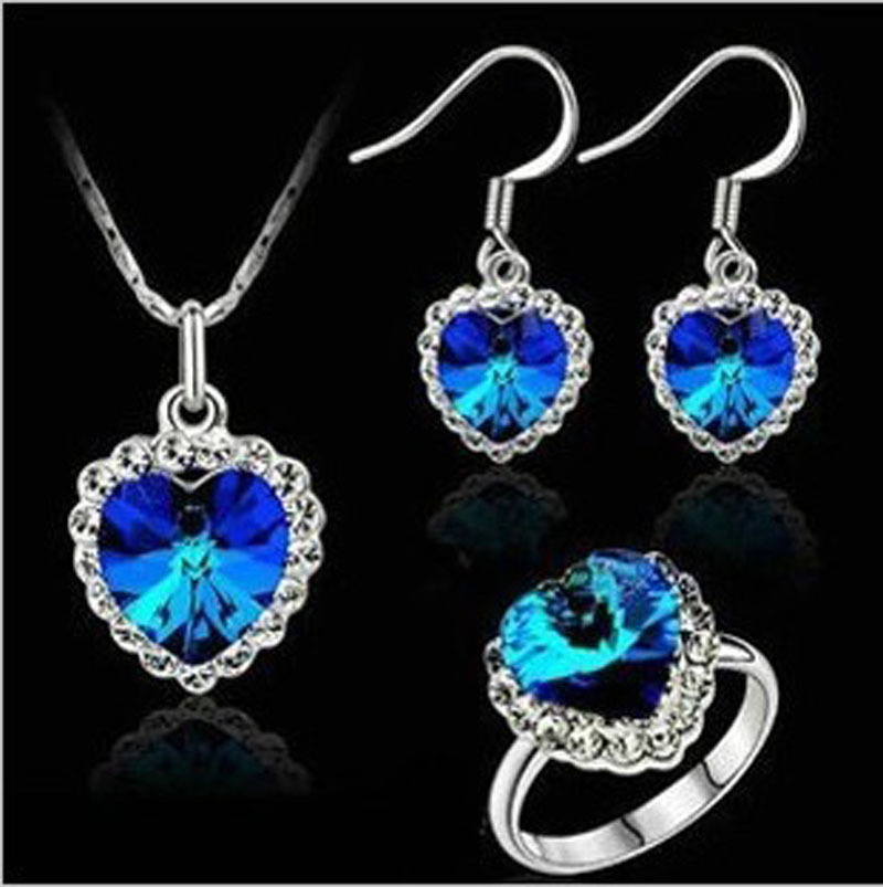 High Quality Brand Name Austrian Element Crystal Ocean Heart Pendant Love Alloy Necklace Earrings Ring Jewelry sets For Women(China (Mainland))