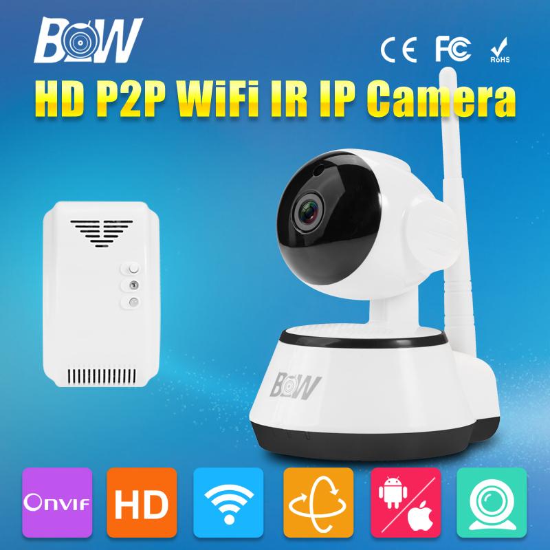 BW HD 720P IP Surveillance Camera P2P Rotatable Smart Security CCTV Mini Home Onvif Infrared IR GSM Burglar + Gas Detector Alarm(China (Mainland))