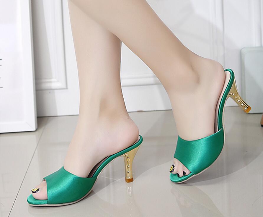 SexeMara Fashion Women Shoes Summer Silk surface Slippers Sexy Heels Sandals Woman Flip Flop Hollow High-Heeled Ladies Sandals(China (Mainland))
