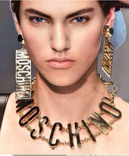 2014 autumn runway accessories MOSC gold metal letter chain bib choker necklace exaggerated HINO punk rock pendant necklace(China (Mainland))