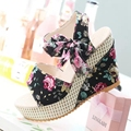 Fashion Women Wedges Platform Shoes Floral Design Bow Summer Sandals Casual Shoes High Heels Sandals Beach