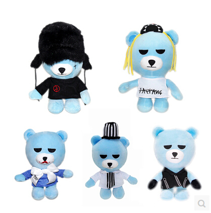 5Pcs Bigbang Yg Bear Blue Rock Teddy Bears Plush Stuffed Toy Chuck Doll Cute Christmas Gift For Boys Girls Kids &amp; Children 24cm<br><br>Aliexpress
