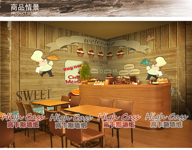 European retro cakes dessert food restaurant bakery large for Cafe mural wallpaper