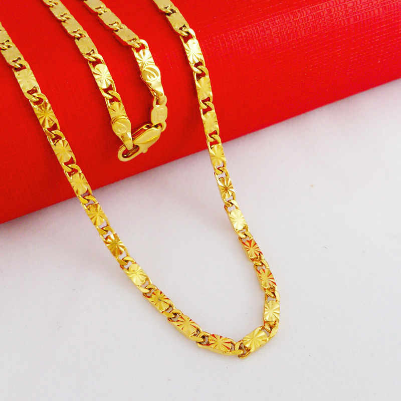 wholesale 3mm Vacuum Plating 24K Gold chain necklace New 2016 ...