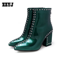 ZZYJ women's Studded boots sexy thick heel women's motorcycle boots patent leather Knight boots ladies' big size shoes bootie