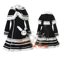 Free Shipping Gothic Lolita Punk Black Wool Coat With Cape Cosplay Costume Tailor-made