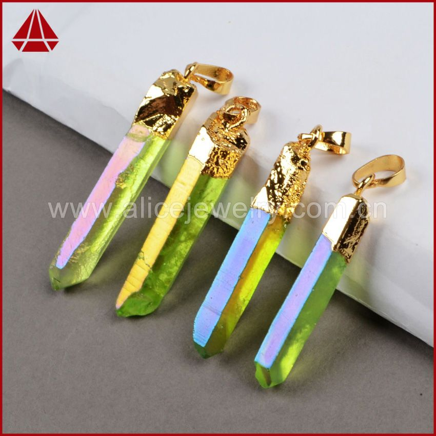 New Aura Crystal Pendants,24K Gold Necklace Druzy Pendants ,Green Titanium AB Color Aura Quartz Crystal Point Pendant Beads G282