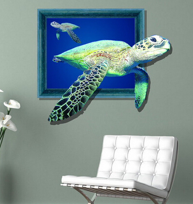 3 d wall stickers Creative 3 d mural deep restaurant 3 d stickers The sitting room the bedroom wall stickers Sea turtles(China (Mainland))