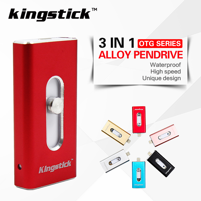 3 in 1 Kingstick Pendrive For IPhone 6 6s 5S Ipad Pen Drive 32GB 64GB Memory Stick 16GB 8GB OTG USB Flash Drive High Speed(China (Mainland))