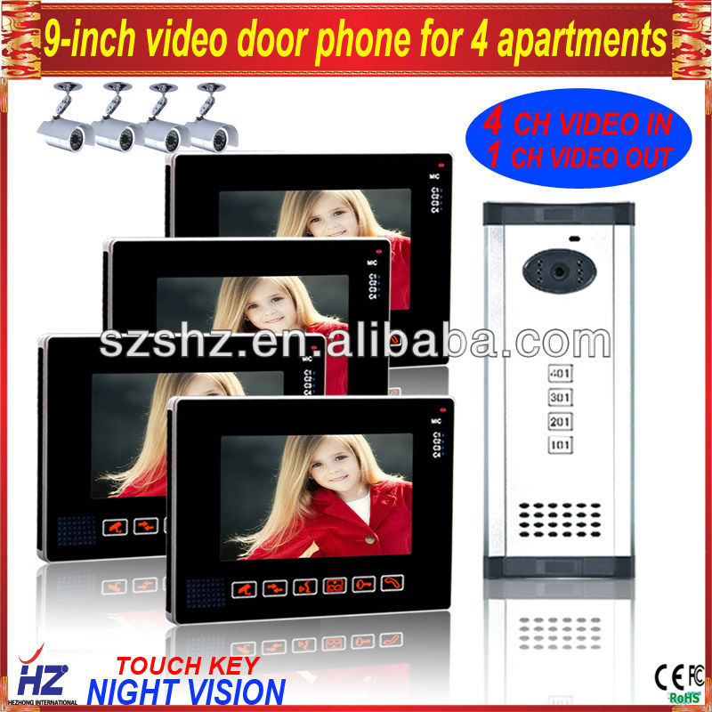 """Free shipping 9""""TFT-LCD wired touch key 4 apartments building video intercom,supporting 4CH video in,1CH video out(China (Mainland))"""