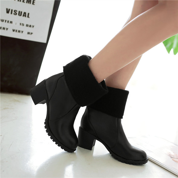 Гаджет  2015  new winter fashion soft leather solid mid-calf women boots high heel boots comfortable and breathess women boot E3635 None Обувь