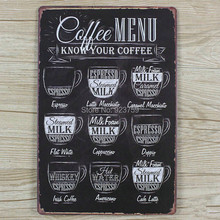 Coffees menu Vintage Tin Sign Bar pub home Wall Decor Retro Metal Art Poster(China (Mainland))