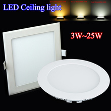 Best price 3W~25W AC85~265V Cold /natural /warm white SMD3528 Panel Lights LED Ceiling LED Downlights High Bright free shipping(China (Mainland))