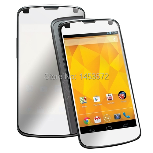 Lot/10 pcs Anti scratch anti dust mirror LCD screen protector film cover for LG Nexus 4 E960(China (Mainland))