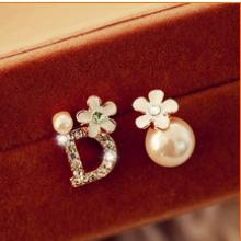 New Trendy Fashion Letter D Cute Crystal Gold Plated Earring Stud Earrings For Women brincos Vintage Jewelry B1252(China (Mainland))