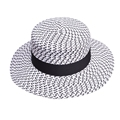 Fashion Straw Hats for Women Wide Brim Summer Cap Black and White Flat Top Rinbbow Kentucky