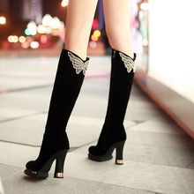 Free shipping new style over knee high boots women high heels shoes butterfly rhinestone long boots platform black high boots